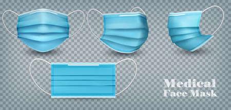Sammlung von blauen medizinischen Gesichtsmasken einzeln auf transparentem Hintergrund. Zum Schutz vor Infektionen und Coronavirus Covid-19. Realistische Vektor-Illustration.