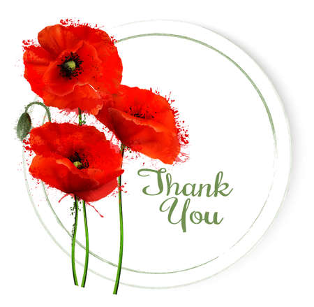 Natural getting card with red poppies flowers. Vector.