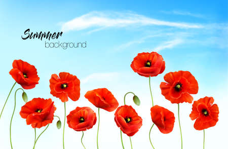 Summer nature background with a red poppies and blue sky with clouds. Vector Ilustracja