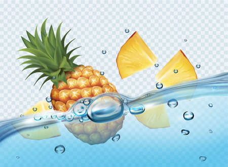 Realistic transparent isolated vector with slices of pineapple in water splash and drops. Vector illustration