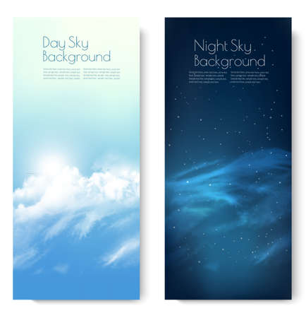 Two nature contrasting sky banners - Day and Night. Vector.