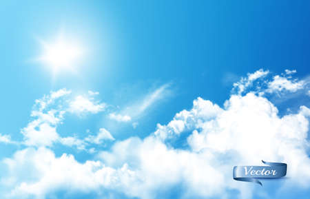 Blue sky nature background with white  transparent clouds and sun. Ilustracja