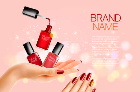 Beauty flyer with nail polish bottles and manicured female hands.