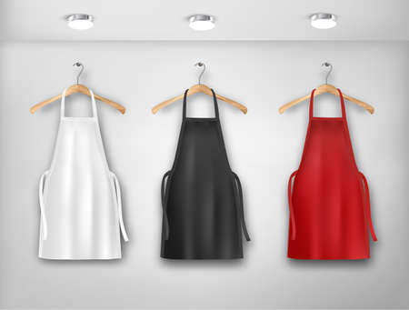 A white, red and black aprons. Mockup aprons. Vector illustration.