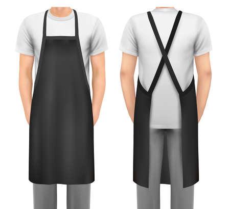 Black aprons. Mockup aprons.