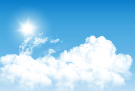 Blue sky background with white  transparent clouds.