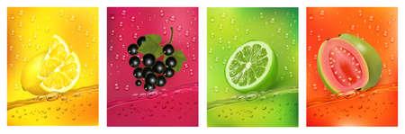 Fresh fruits juice splashing together- pear, apple, plum, watermelon juice drink splashing. 3d fresh fruits.