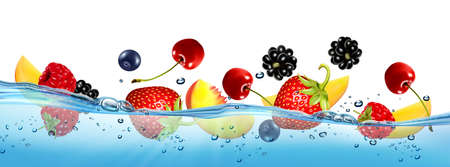 Fresh fruits and berries splashing in water waves with air bubbles and sunbeams. Raspberry, blueberry, strawberry, peach, cherry, mango.