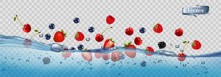 Fresh fruits and berries splashing in water waves with air bubbles and sunbeams.