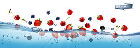 Fresh fruits and berries splashing in water waves with air bubbles