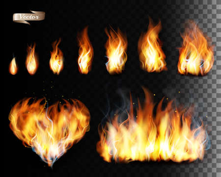 Collection of fire vectors - flames and a heart shape. Vector. Ilustracja