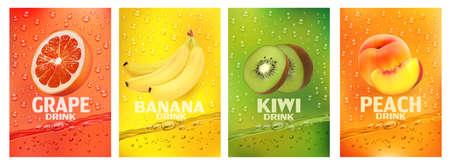 Set of labels with fruit drink.Fresh fruits juice splashing together- banana, kiwi, peach, grapefruit juice drink splashing. 3d fresh fruits. Vector illustration Ilustracja