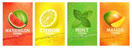 Set of labels with fruit drink. Fresh fruits juice splashing together- watermelon, citron, mint, mango juice drink splashing. Vector. Ilustracja