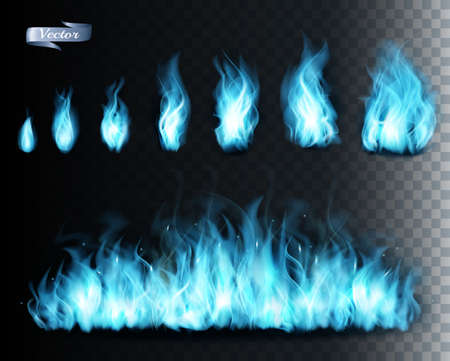 Collection of blue transparent fire  flames. Vector illustration.