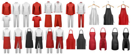 Big set of culinary clothing, white and red suits and aprons.