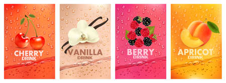 Set of labels with fruit and berry  drink. Fresh fruits juice splashing together- cherry, vanilla, raspberry, blackberry, apricot juice drink splashing. 3d fresh fruits. Vector illustration 向量圖像