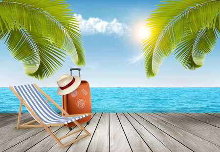 Vacation background. Beach with tropical palm trees and blue sea.