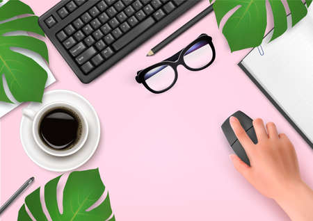 Office background with coffee, notebook, glasses and hand with mouse.