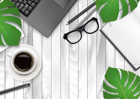 Office background with coffee, laptop, paper and green leaves. Ilustracja