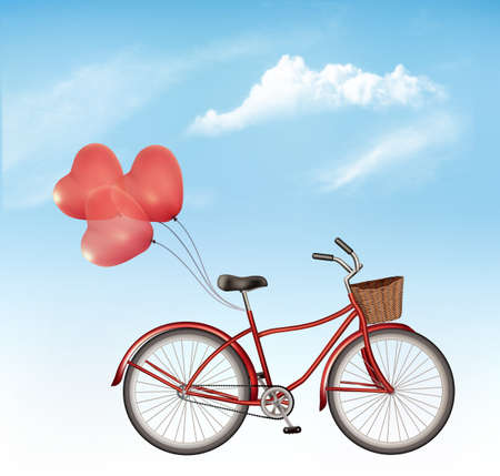 Bicycle with red heart-shaped balloons in front of blue sky background.