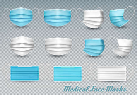 Collection of a blue and white medical face masks isolated on transparent background.