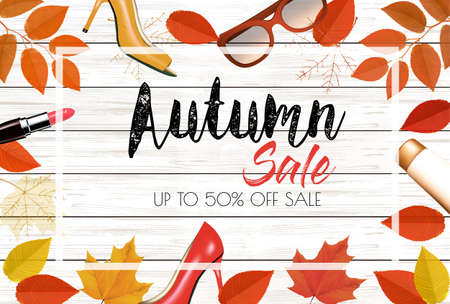 Enjoy Autumn Sale background with autumn leaves and products. Vector illustration.