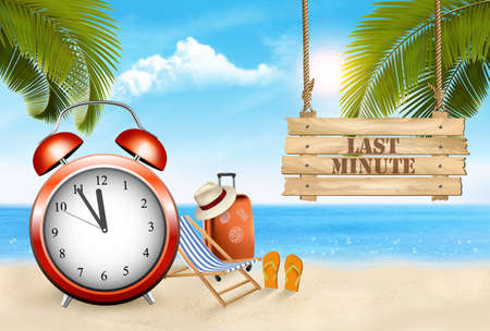 Last Minute. Summer vacation background. Alarm clock in Tropical Beach, Vector.