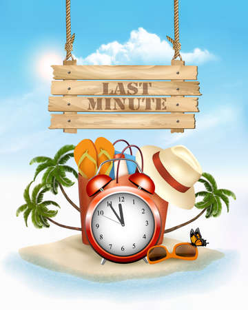 Last Minute. Summer vacation background. Alarm clock in Tropical Beach. Vector.