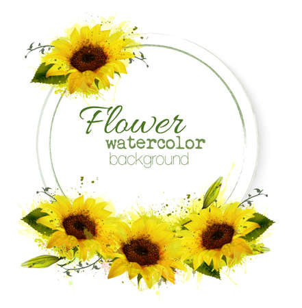 Natural vintage greeting card with watercolor sunflowers. Vector. Ilustracja