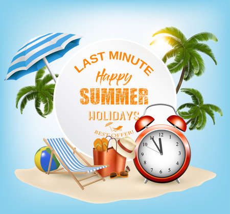 Last Minute. Summer vacation background. with Travel items on the beach.