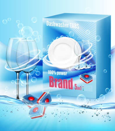Two clean glasses  in soap foam and bubblies and packing with dishwasher detergent tabs with scent of citron . Realistic dishware  for dishwashing detergent advertising design. Ilustracja