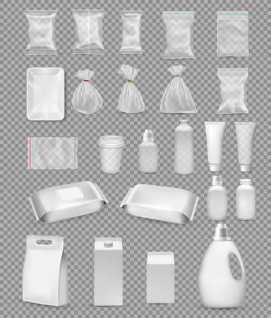 Collection of polypropylene plastic packaging and medical supplies - sack, tray, cup, bottle, box, tube and packing  for antibakterial wet wipes on transparent background. Vector illustration