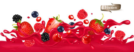 Red berry juice splash wave. Whole and sliced strawberry, raspberry, cherry, blueberry and blackberry in a sweet syrup wave with splashes and drops isolated on transparent background. 3D. Vector.
