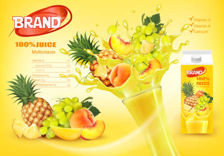 Mulitivitamin juice with fresh exotic fruits and splashing liquid.Whole and sliced pineapple, mango, peach and grape in a sweet yellow juice with splashes. Design template. Vector