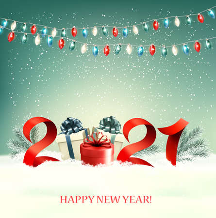 2021 New Year background with gift boxes and colorful garland. Vector. Vettoriali