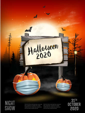 Scary Holiday Halloween background with pumpkins wearing medical face mask and silhouettes of bats, dead trees and wooden sign. Halloween nigh show in Covid-19. Vector.