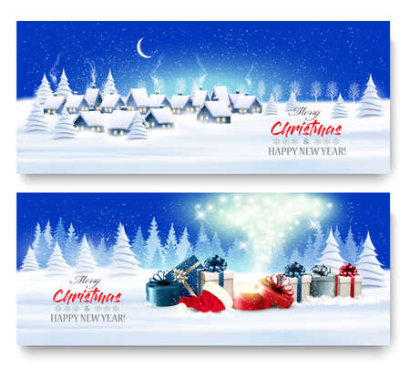 Holiday Christmas and New Year Banners with a Village Landscape and presents with magic box. Vector. Vettoriali