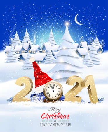 Holiday Christmas and New Year Background with a Village Landscape and 2021 with presents and Santa Hat. Vector. 向量圖像