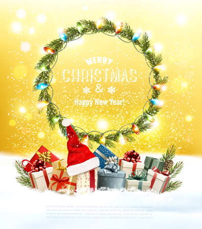 Merry Christmas and Happy New Year Background  with christmas wreath. Colorful gift boxes with Santa Hat and bright multicolor garland. Vector