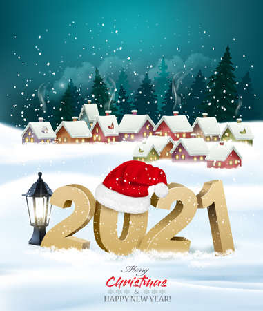 Holiday christmas background with 2021 and gift boxes and landscape with winter village. Vector