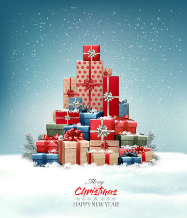 Retro holiday christmas background with christmas tree made out of colorful gift boxes and presents. Vector illustration