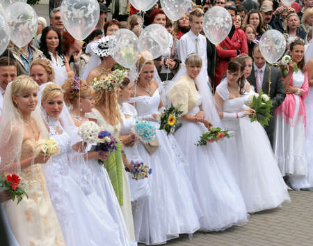 JURMALA - JUNE 13: 2nd annual wedding parade in resort city. Each year many brides from all country are participating in Bride parade - June 13, 2010 in Jurmala, Latvia. Editorial