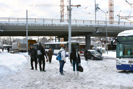 Dangerous traffic accident with public transport in Riga, Latvia on February 2, 2010. Trolleybus stuck in snow and blocked driving on slippery road. Massive snow in everywhere due to unbelievable winter storm in Europe. Luckly nobody is hurt.