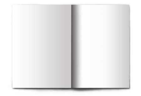 Blank  empty magazine spread isolated on white background. Its easy to add your design to these pages. photo