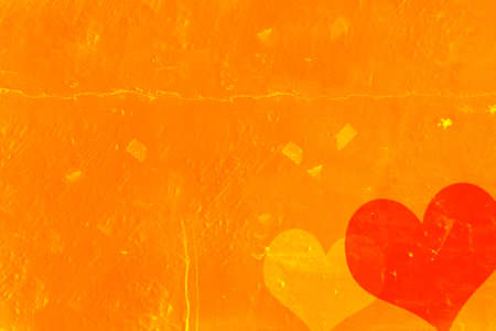 Grunge scratched texture/background with two red and yellow hearts Stock Photo - 9413568