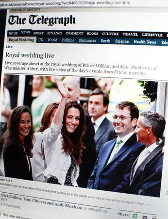 LONDON - APRIL 29: Final night before Royal wedding of Prince William and Kate Middleton at Westminster Abbey. All major worldwide sites are ready to start live coverage - April 29, 2011 in London, UK.