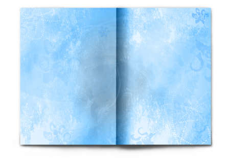 Blank / empty magazine spread isolated on white background. Light blue winter theme for Christmas or Happy New Year. It's easy to add your design to these pages.