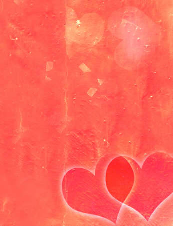 Grunge scratched texturebackground with two red hearts photo