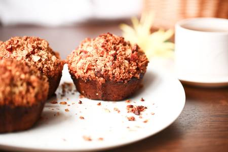 Beautiful banana muffins with oatmeal and honey photo