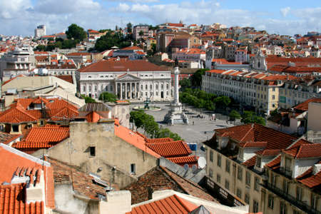 Panorama of a old traditional neighborhood and famous square in Lisboa Stock Photo